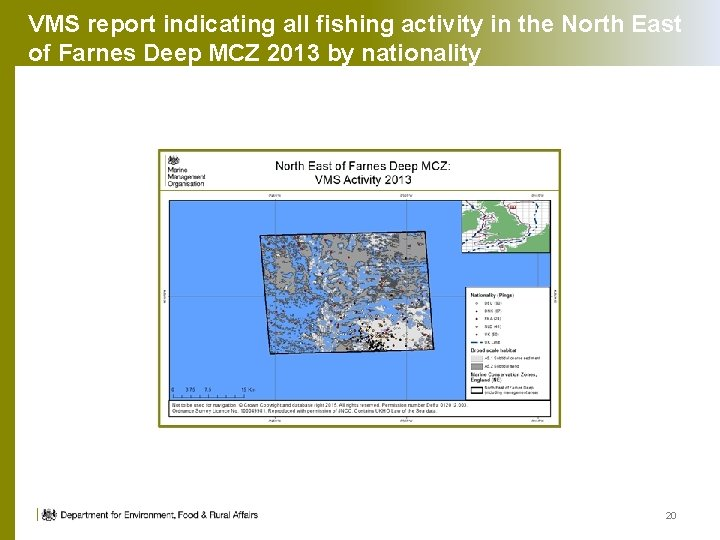 VMS report indicating all fishing activity in the North East of Farnes Deep MCZ