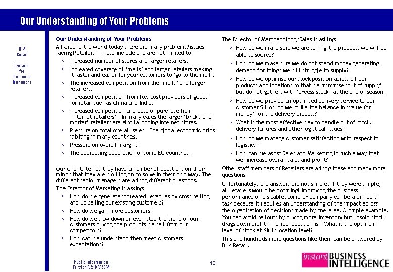 Our Understanding of Your Problems BI 4 Retail Details for Business Managers Our Understanding