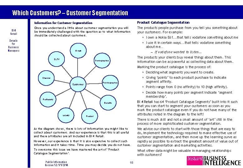 Which Customers? – Customer Segmentation BI 4 Retail Information for Customer Segmentation Product Catalogue