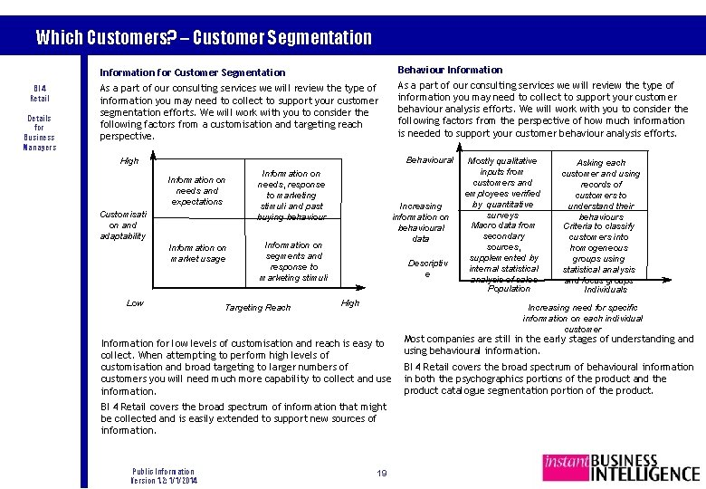 Which Customers? – Customer Segmentation BI 4 Retail Details for Business Managers Information for