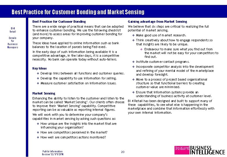Best Practice for Customer Bonding and Market Sensing BI 4 Retail Details for Business