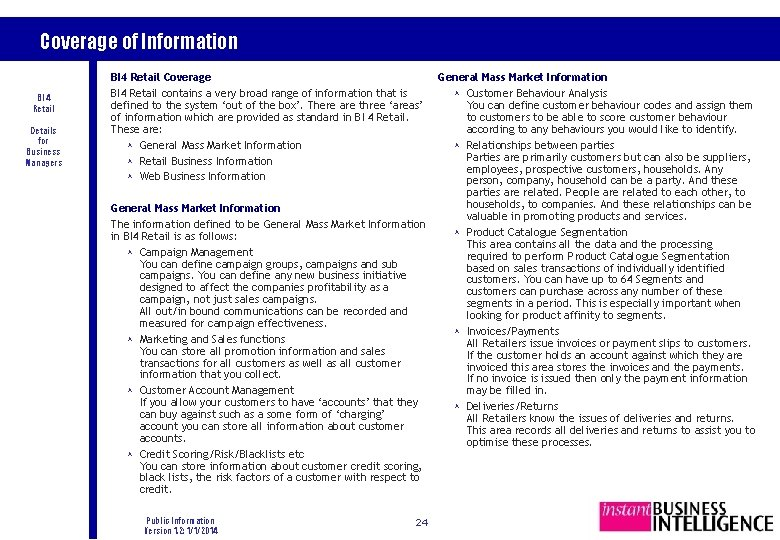Coverage of Information BI 4 Retail Details for Business Managers BI 4 Retail Coverage