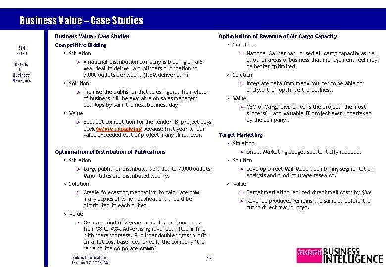 Business Value – Case Studies Optimisation of Revenue of Air Cargo Capacity Business Value