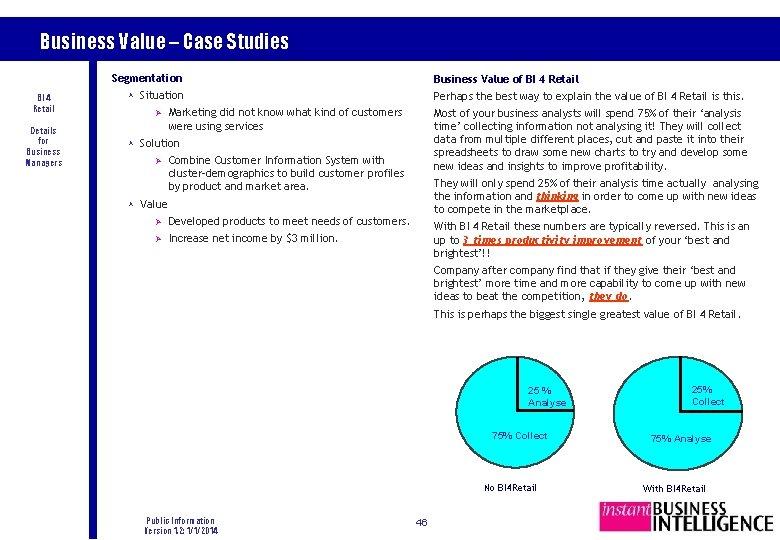 Business Value – Case Studies Segmentation BI 4 Retail Details for Business Managers Business