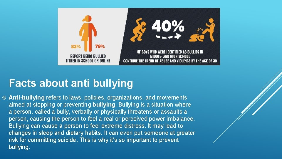 Facts about anti bullying Anti-bullying refers to laws, policies, organizations, and movements aimed at