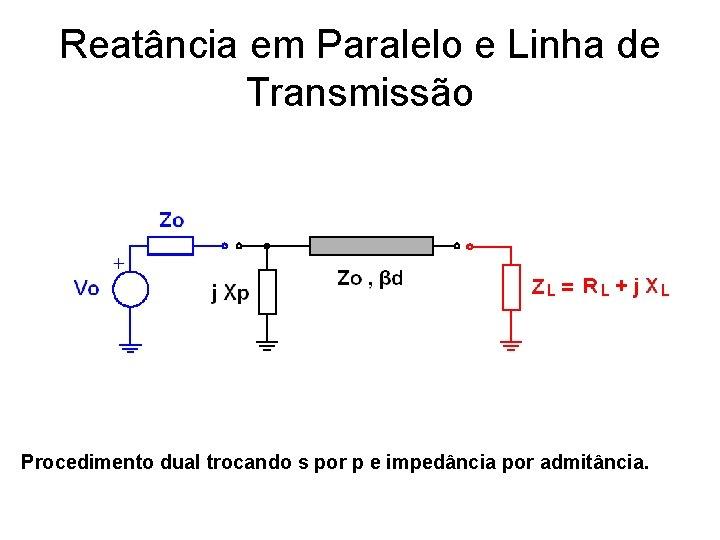Reatância em Paralelo e Linha de Transmissão Procedimento dual trocando s por p e