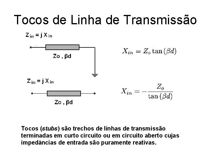 Tocos de Linha de Transmissão Tocos (stubs) são trechos de linhas de transmissão terminadas