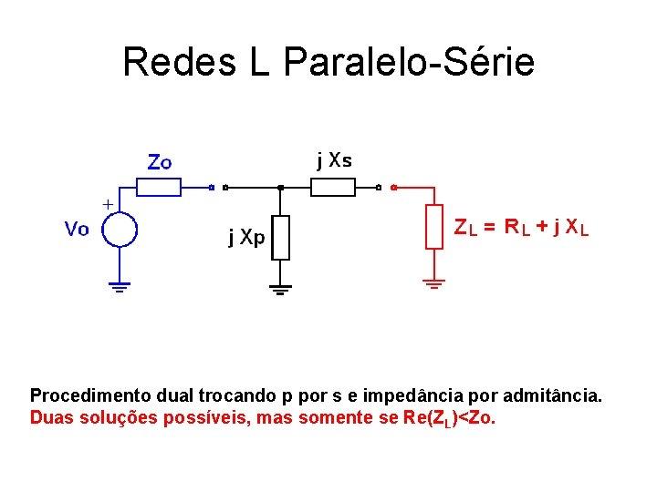 Redes L Paralelo-Série Procedimento dual trocando p por s e impedância por admitância. Duas