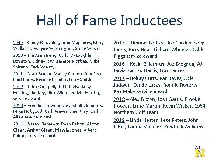 Hall of Fame Inductees 2009 - Kenny Browning, John Maginnes, Mary Walker, Dewayne Washington,