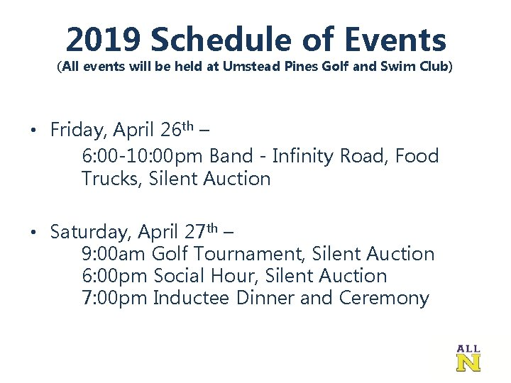 2019 Schedule of Events (All events will be held at Umstead Pines Golf and