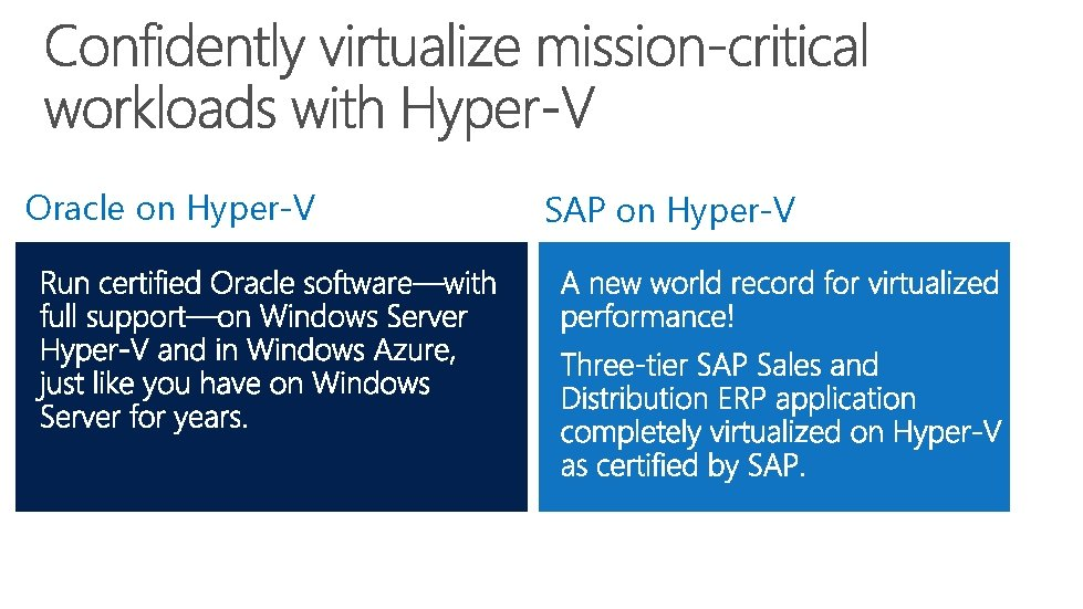 Oracle on Hyper-V SAP on Hyper-V