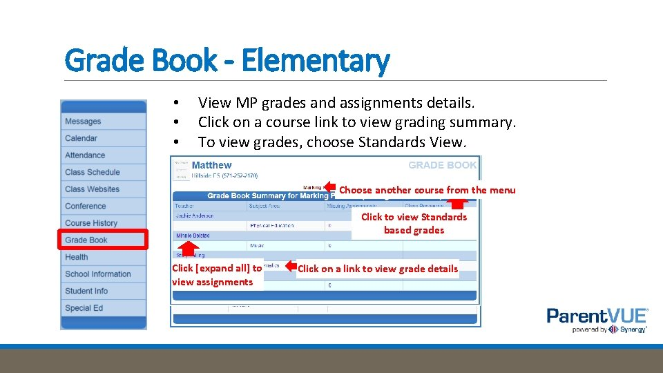 Grade Book - Elementary • • • View MP grades and assignments details. Click