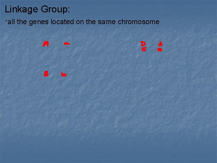 Linkage Group: ·all the genes located on the same chromosome
