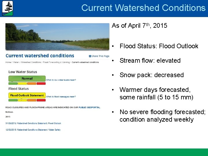 Current Watershed Conditions As of April 7 th, 2015 • Flood Status: Flood Outlook