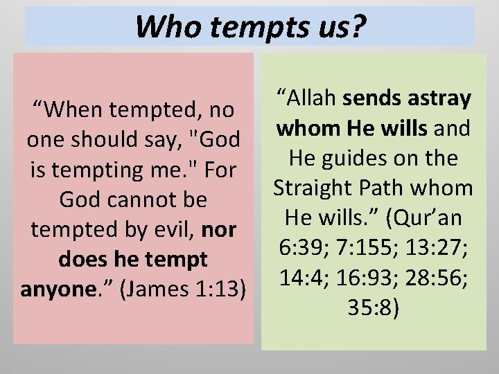 """Who tempts us? """"When tempted, no one should say, """"God is tempting me. """""""