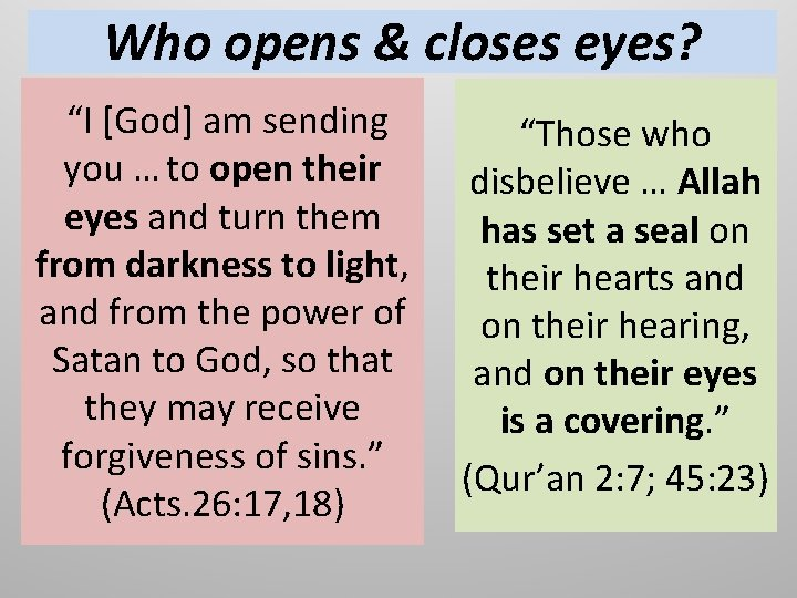 """Who opens & closes eyes? """"I [God] am sending you … to open their"""