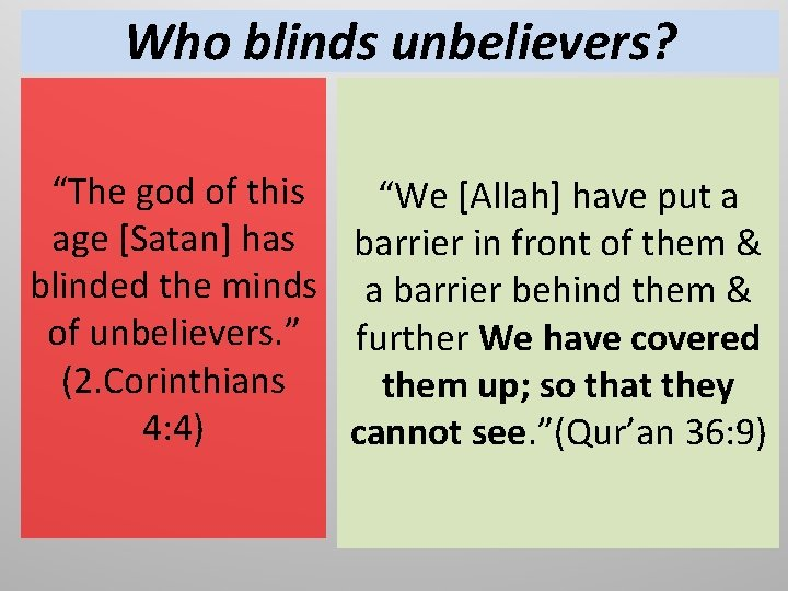 """Who blinds unbelievers? """"The god of this age [Satan] has blinded the minds of"""