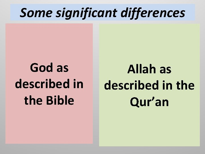 Some significant differences God as described in the Bible Allah as described in the