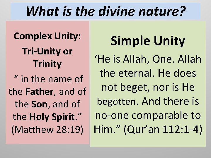 """What is the divine nature? Complex Unity: Tri-Unity or Trinity """" in the name"""