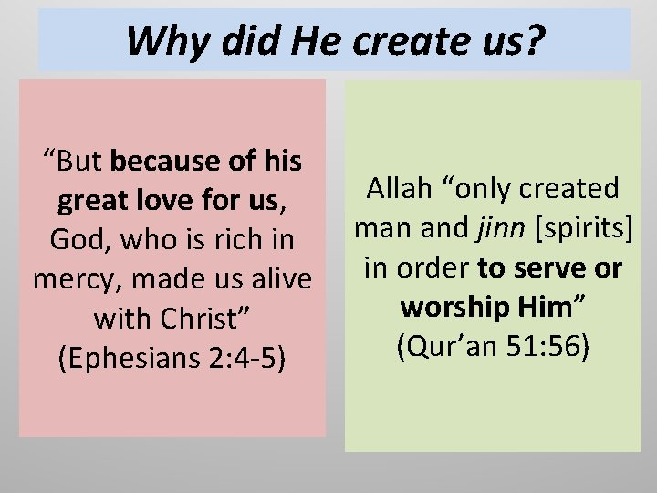 """Why did He create us? """"But because of his Allah """"only created great love"""