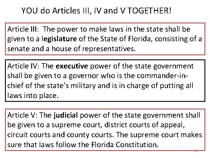 YOU do Articles III, IV and V TOGETHER! Article III: The power to make