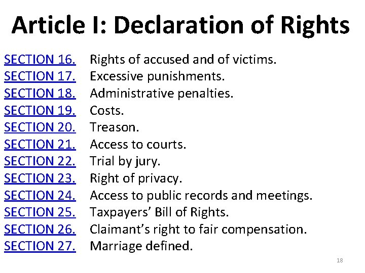 Article I: Declaration of Rights SECTION 16. Rights of accused and of victims. SECTION
