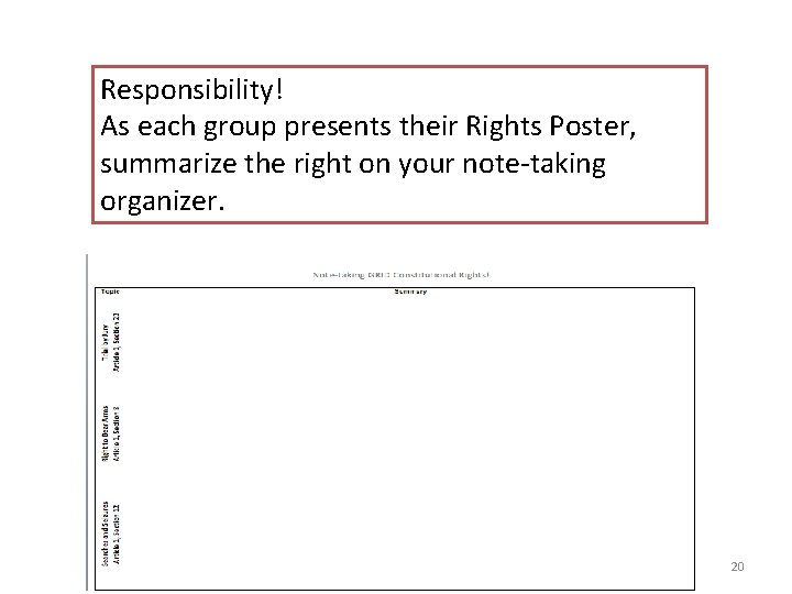 Responsibility! As each group presents their Rights Poster, summarize the right on your note-taking