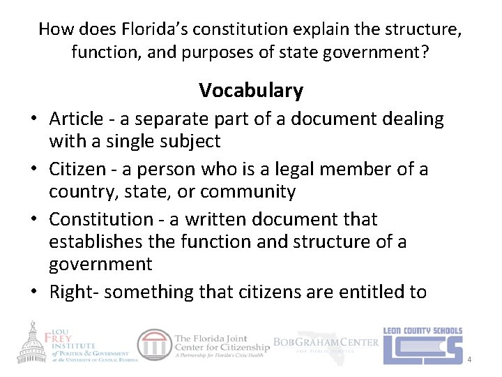 How does Florida's constitution explain the structure, function, and purposes of state government? Vocabulary