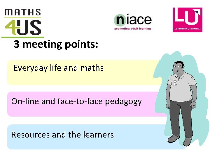 3 meeting points: Everyday life and maths On-line and face-to-face pedagogy Resources and the