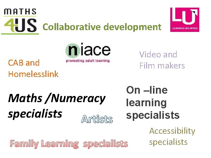 Collaborative development Video and Film makers CAB and Homelesslink Maths /Numeracy specialists Artists On