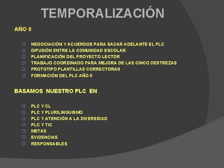TEMPORALIZACIÓN AÑO 0 � � � NEGOCIACIÓN Y ACUERDOS PARA SACAR ADELANTE EL PLC