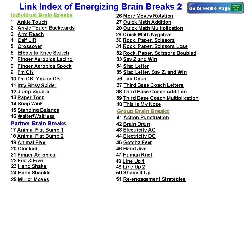 Link Index of Energizing Brain Breaks 2 Individual Brain Breaks 1 Ankle Touch 2