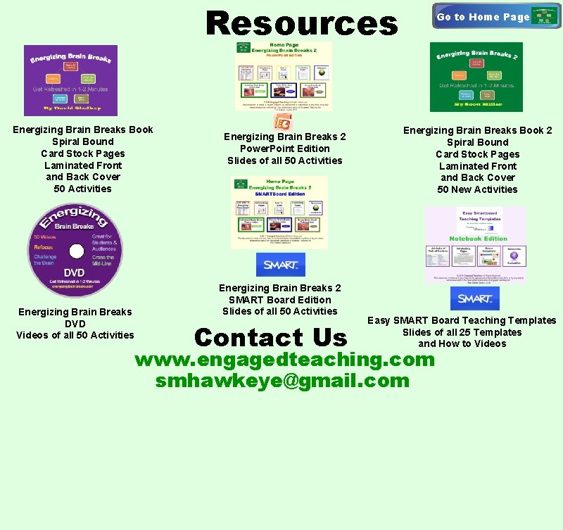Resources Energizing Brain Breaks Book Spiral Bound Card Stock Pages Laminated Front and Back