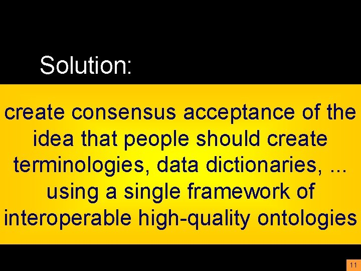 Solution: create consensus acceptance of the idea that people should create terminologies, data dictionaries,