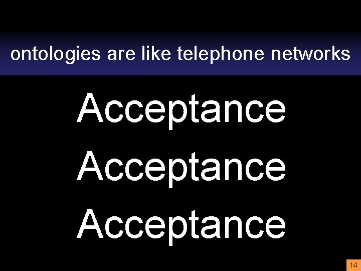 ontologies are like telephone networks Acceptance 14