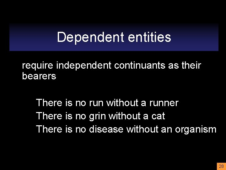 Dependent entities require independent continuants as their bearers There is no run without a