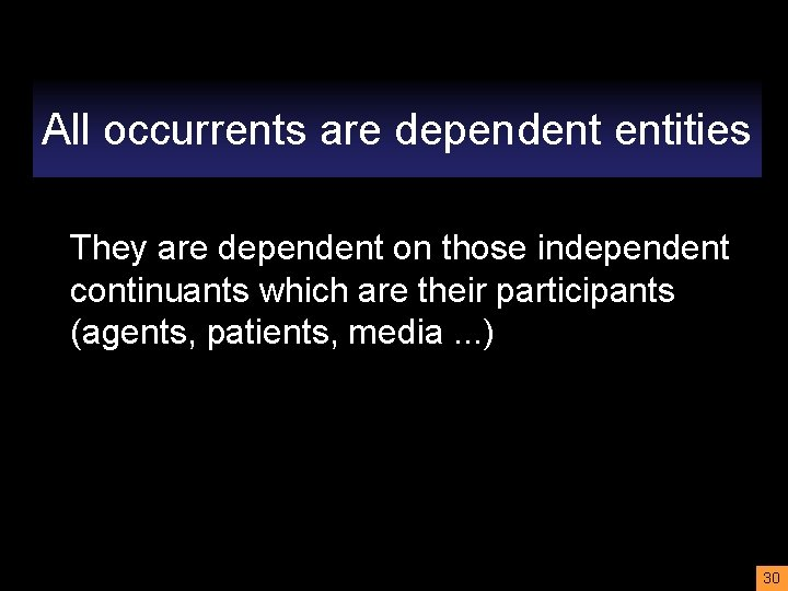 All occurrents are dependent entities They are dependent on those independent continuants which are