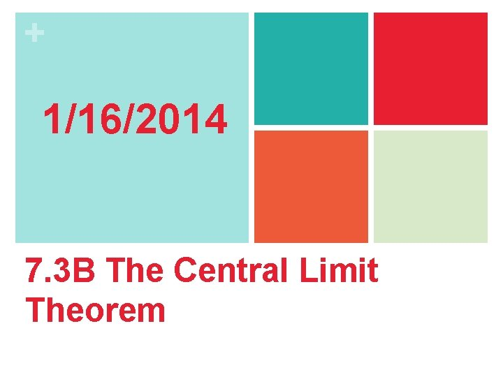 + 1/16/2014 7. 3 B The Central Limit Theorem