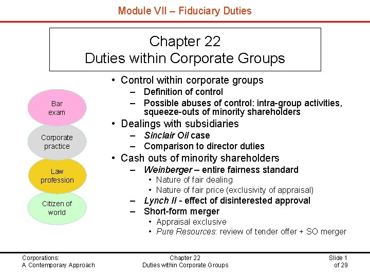 Module VII – Fiduciary Duties Chapter 22 Duties within Corporate Groups • Control within