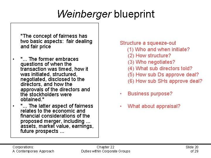 "Weinberger blueprint ""The concept of fairness has two basic aspects: fair dealing and fair"