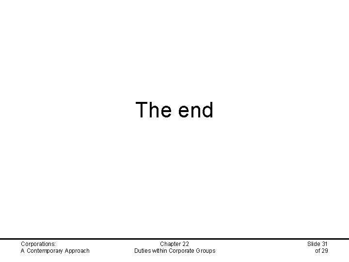 The end Corporations: A Contemporary Approach Chapter 22 Duties within Corporate Groups Slide 31