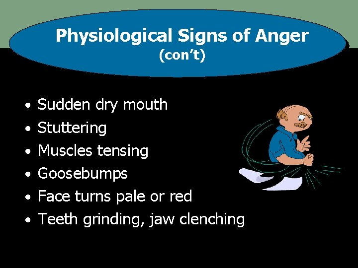 Physiological Signs of Anger (con't) • Sudden dry mouth • Stuttering • Muscles tensing
