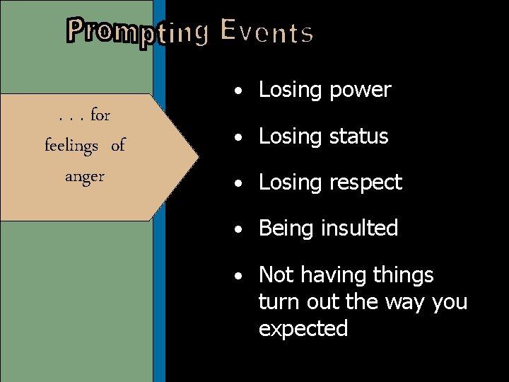 • Losing power . . . for feelings of anger • Losing status