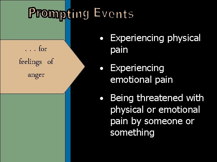 • Experiencing physical . . . for feelings of anger pain • Experiencing