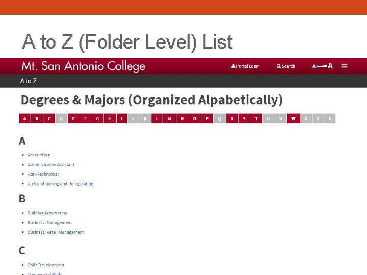 A to Z (Folder Level) List
