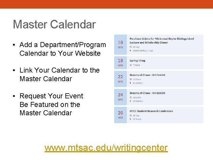 Master Calendar • Add a Department/Program Calendar to Your Website • Link Your Calendar