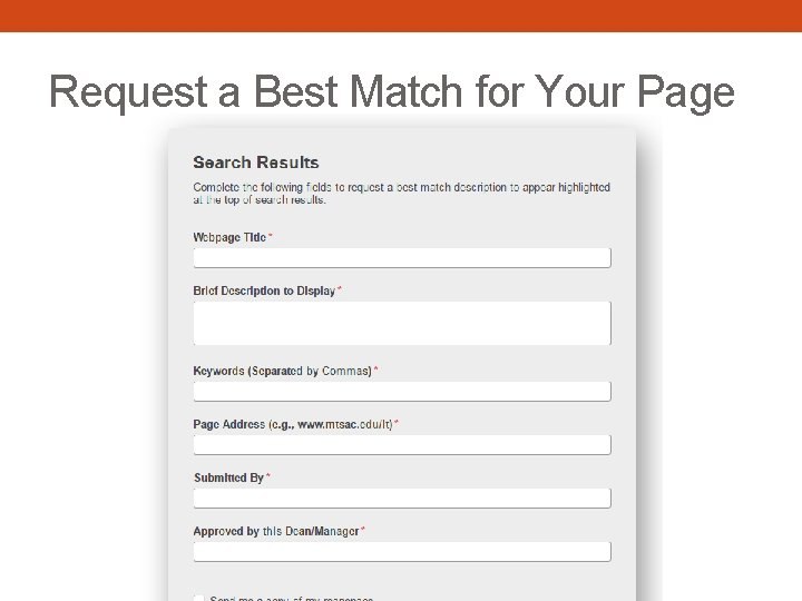 Request a Best Match for Your Page