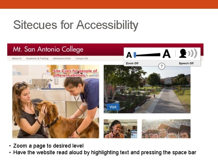 Sitecues for Accessibility • Zoom a page to desired level • Have the website