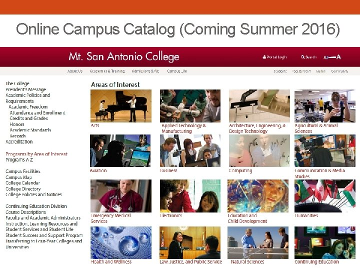 Online Campus Catalog (Coming Summer 2016)