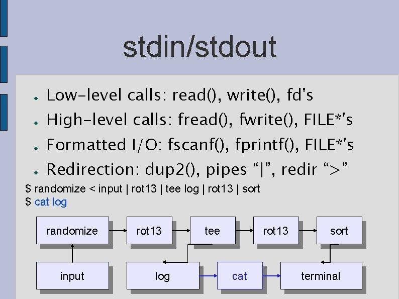stdin/stdout ● Low-level calls: read(), write(), fd's ● High-level calls: fread(), fwrite(), FILE*'s ●